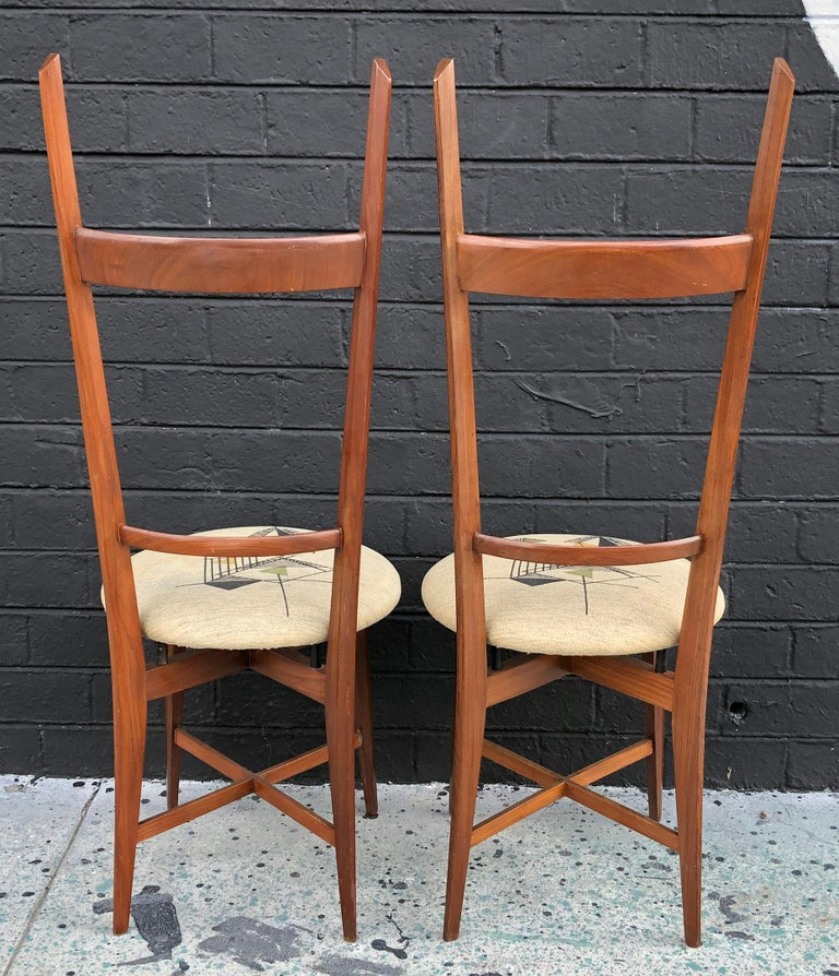 Pair of 1960s Italian Modern Ladder Back Accent Chairs For Sale 1