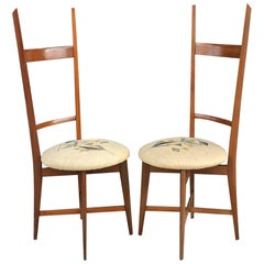 Pair of 1960s Italian Modern Ladder Back Accent Chairs