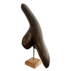 1960s Italian Modernist Carved Wood Sculpture on Square Base