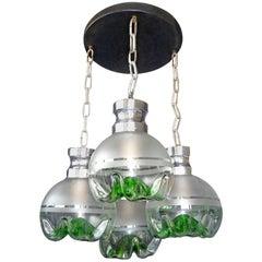 1960s Italian Modernist Murano Mazzega Green Art Glass Chrome Cascade Chandelier