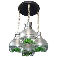 1960s Italian Modernist Murano Mazzega Green Art Glass Chrome Cascade Chandelier