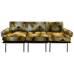 1960s Italian Modular Sofa, Black Steel / Wood, Botanical Print Silk