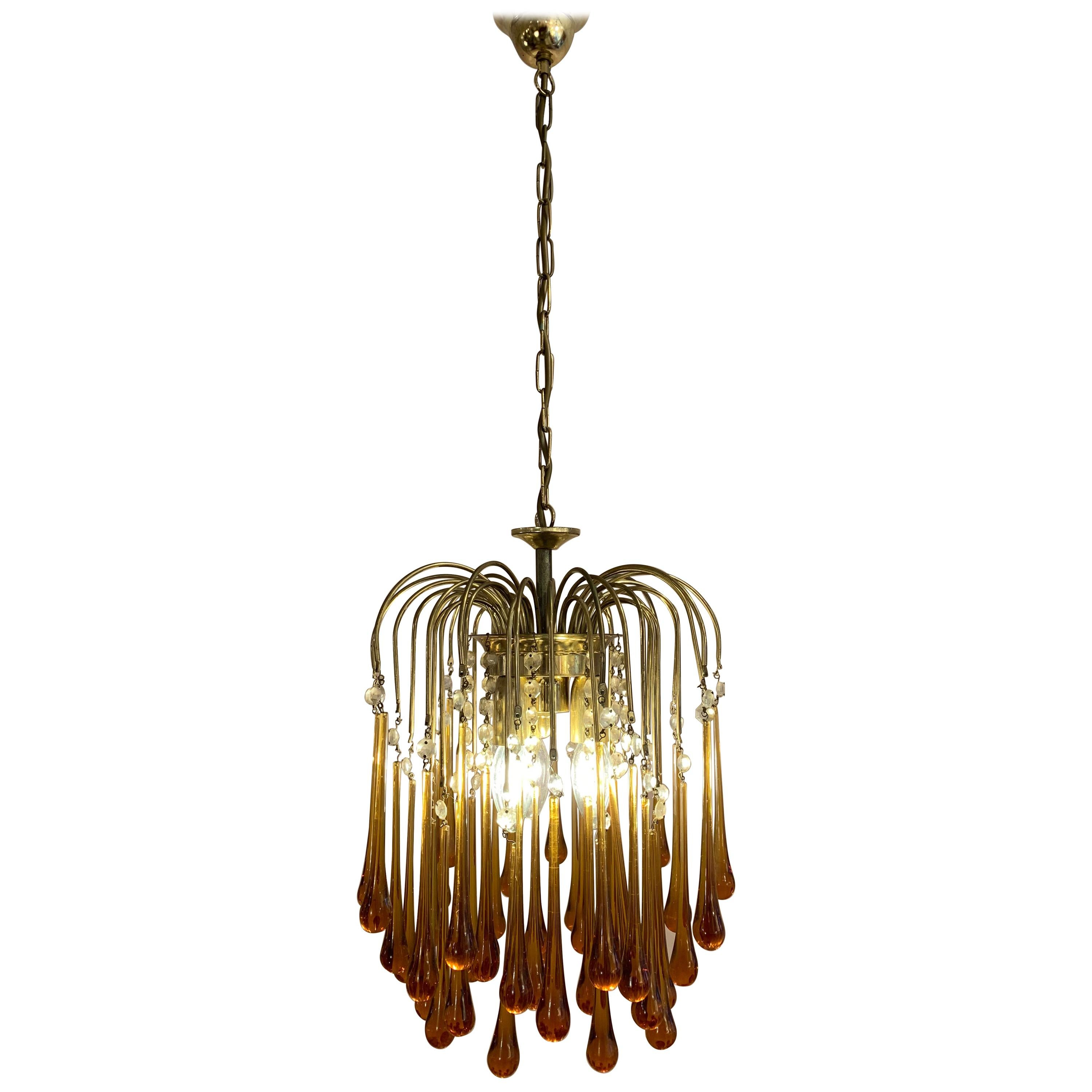 1960s Italian Murano Amber Glass and Brass Teardrop Chandelier by Paolo Venini
