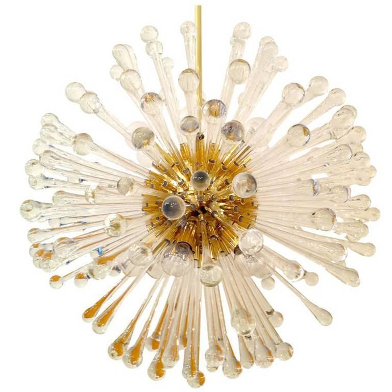 1960s Italian Murano Glass Dandelion Chandelier