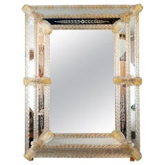 1960s Italian Murano Venetian Floral Etched Wall Glass Mirror