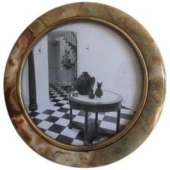 1960s Italian Onyx Round Frame