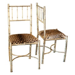1960s Italian Pair of Brass Faux Bamboo Chairs with Leopard Skin