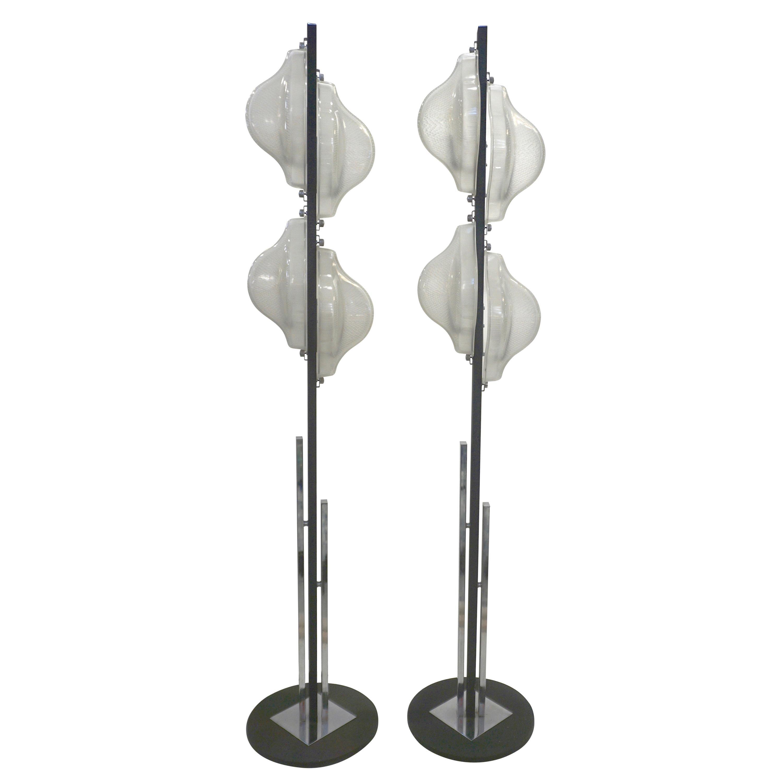 1960s Italian Pair of Minimalist White and Black Organic Chrome Floor Lamps