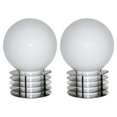 1960s Italian Pair of Modern Double-Lit White Glass and Chrome Round Table Lamps
