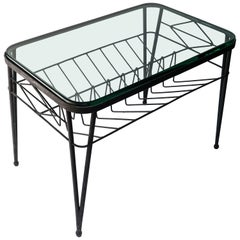 1960s Italian Rectangular Black Metal Side Table with Glass Top