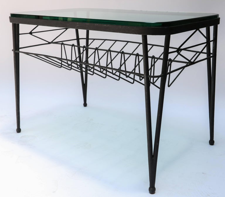 Mid-Century Modern 1960s Italian Rectangular Metal Side Table with Glass Top For Sale