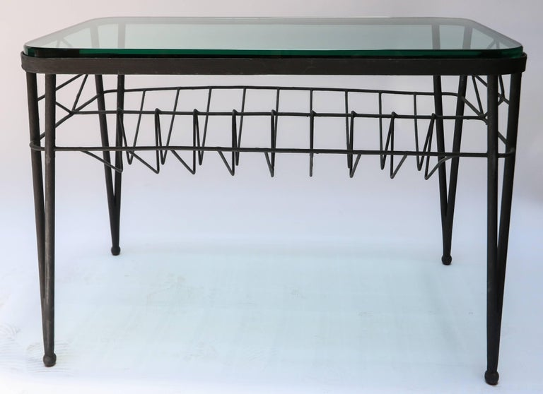 Mid-20th Century 1960s Italian Rectangular Metal Side Table with Glass Top For Sale