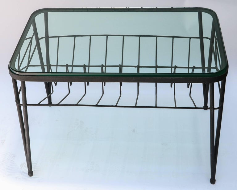 1960s Italian Rectangular Metal Side Table with Glass Top For Sale 1