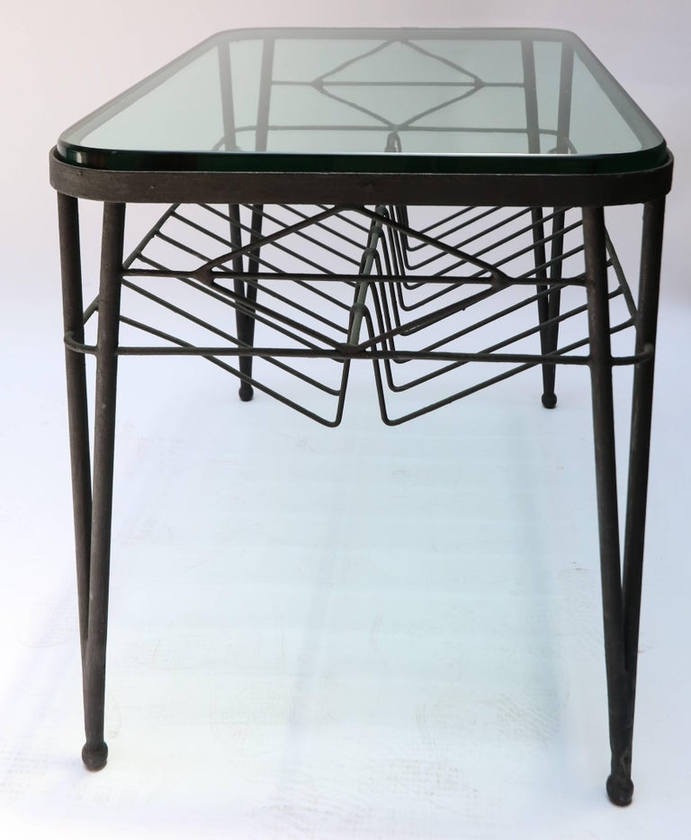 1960s Italian Rectangular Metal Side Table with Glass Top For Sale 2