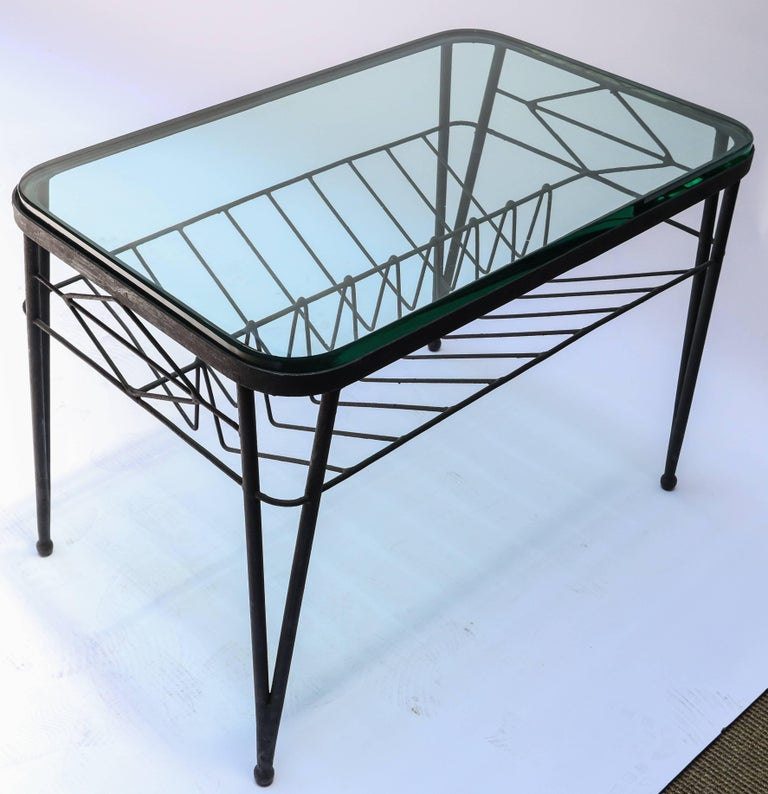 1960s Italian Rectangular Metal Side Table with Glass Top For Sale 3