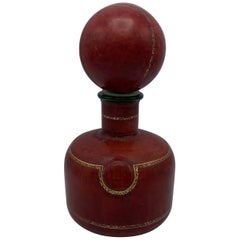 1960s Italian Red Leather Decanter