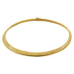 1960s Italian Retro 18-Karat Yellow Gold Omega Flex Link Necklace