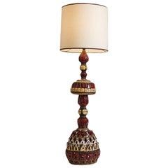 1960s Italian Roland Zobel Colorful Pottery Lamp
