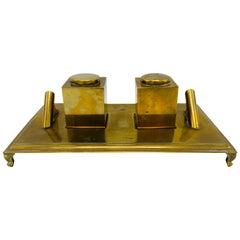 1960s Italian Sarreid Ltd. Brass Inkwell Desk Set