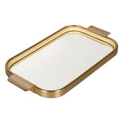 1960s Italian Serving Tray, Gilt Aluminium , Top Mirror & Rubber by Carlo Sarpa