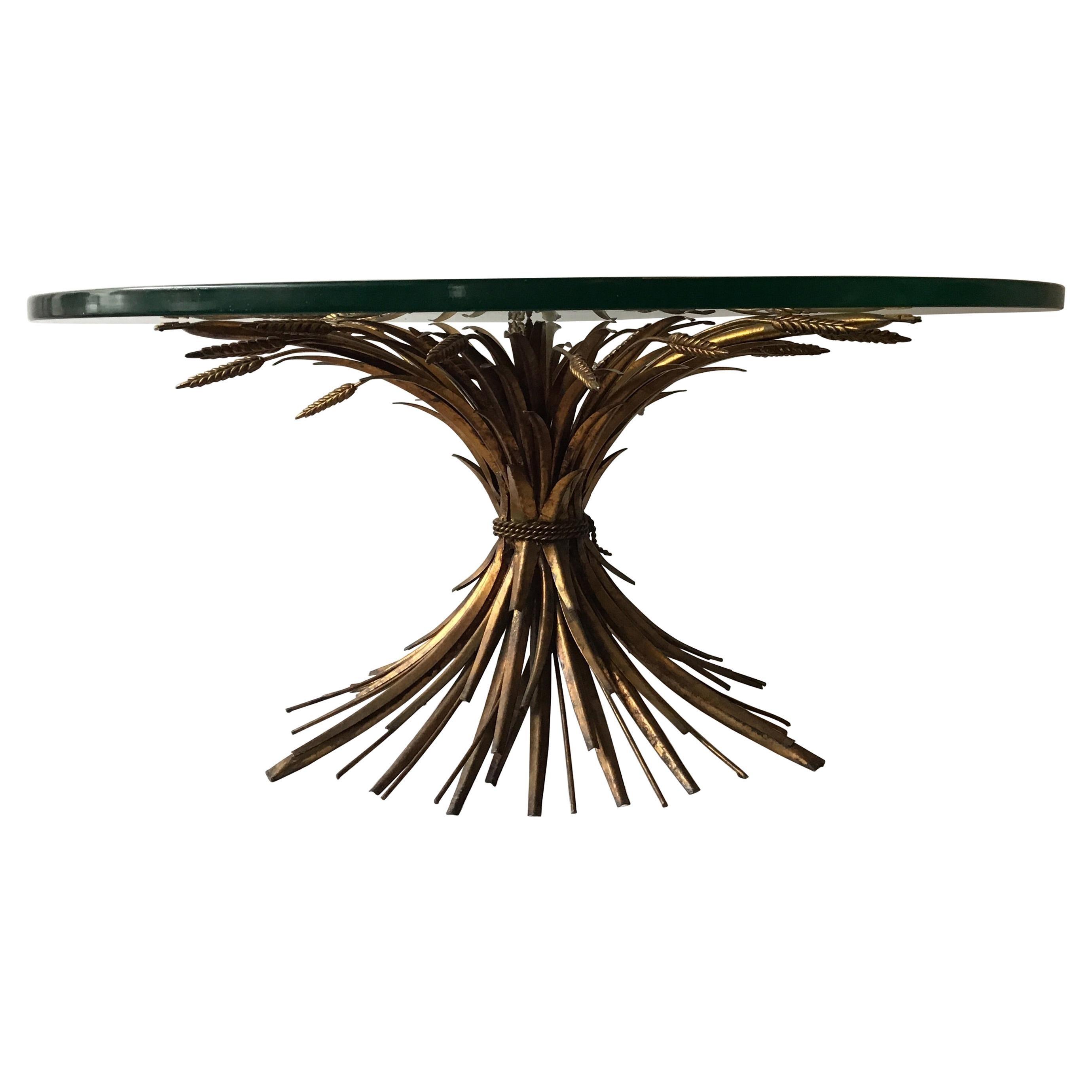 1960s Italian Sheaf of Wheat Gilt Metal Coffee Table