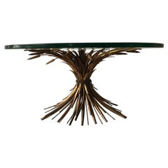 1960s Italian Sheaf of Wheat Gilt Metal Coffee Table