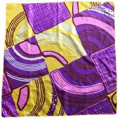 1960's Italian Silk Scarf By Pia Piccini In Mod Purple Yellow and Pink Print