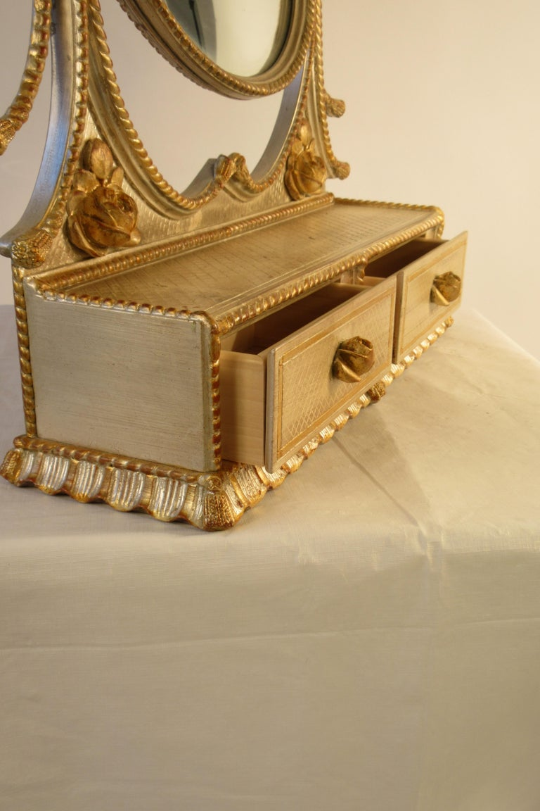 1960s Italian Silver and Gold-Painted Vanity Mirror For Sale 7