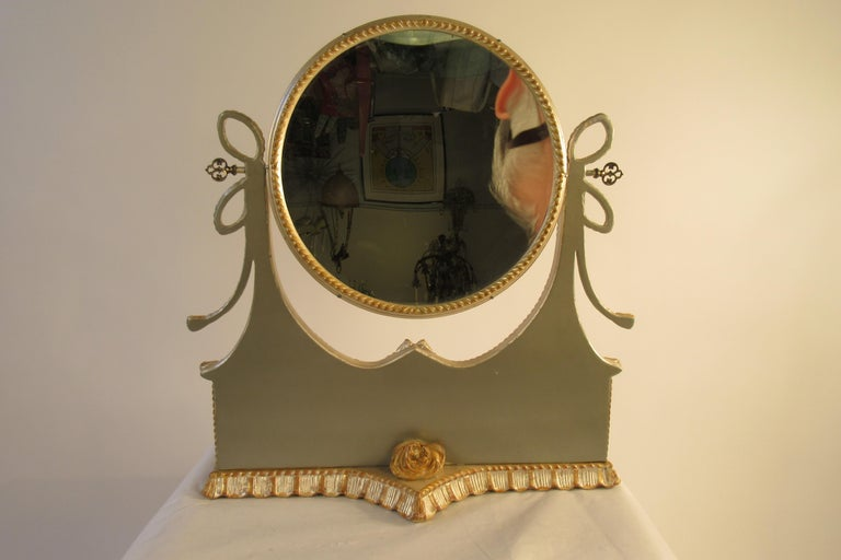 1960s Italian Silver and Gold-Painted Vanity Mirror For Sale 13