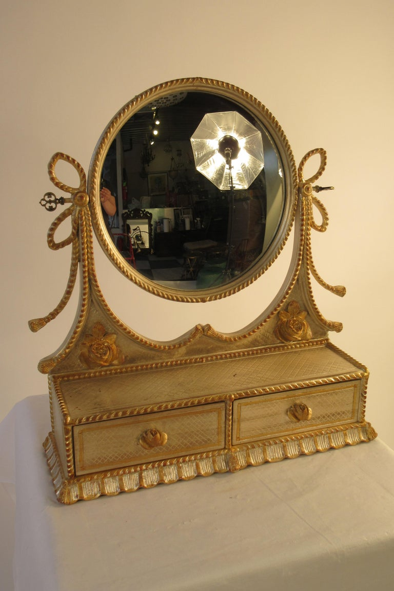 Mid-20th Century 1960s Italian Silver and Gold-Painted Vanity Mirror For Sale