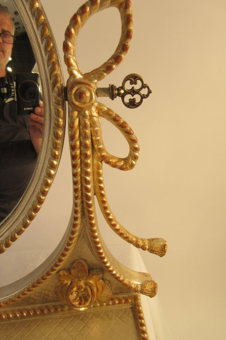 1960s Italian Silver and Gold-Painted Vanity Mirror For Sale 2