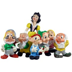 1960s Italian Snow White and the Seven Dwarfs Whistling Rubber Toys for Disney
