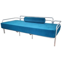 1960s Italian Steel and Tufted Velvet Blue Re-Upholstered Sofa or Daybed