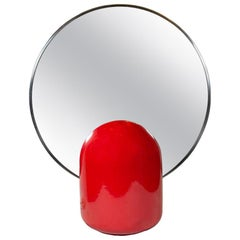 1960s Italian Table Light Red Ceramic Base Circular Mirror Top Design Enzo Bioli