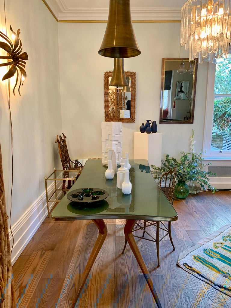 1960s Italian Table with Wood Legs and Green Glass Tabletop For Sale 4