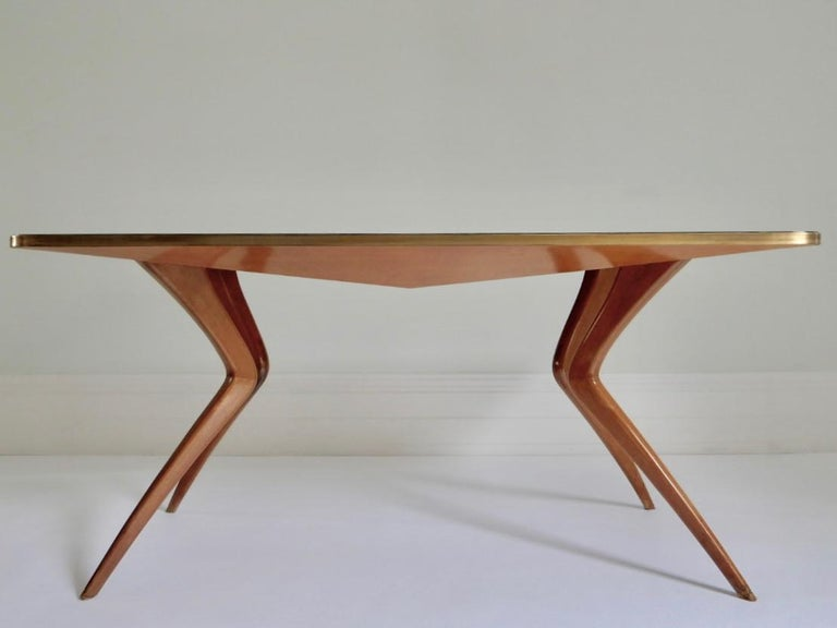 Mid-Century Modern 1960s Italian Table with Wood Legs and Green Glass Tabletop For Sale