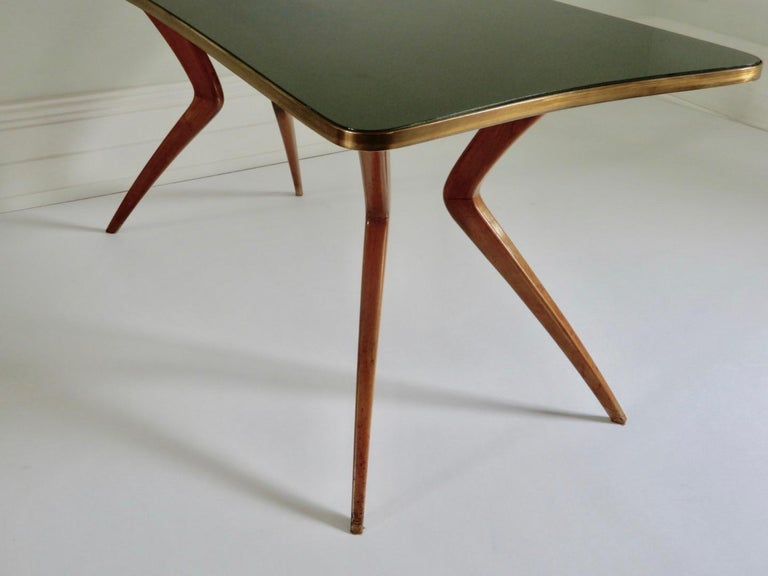 Mid-20th Century 1960s Italian Table with Wood Legs and Green Glass Tabletop For Sale