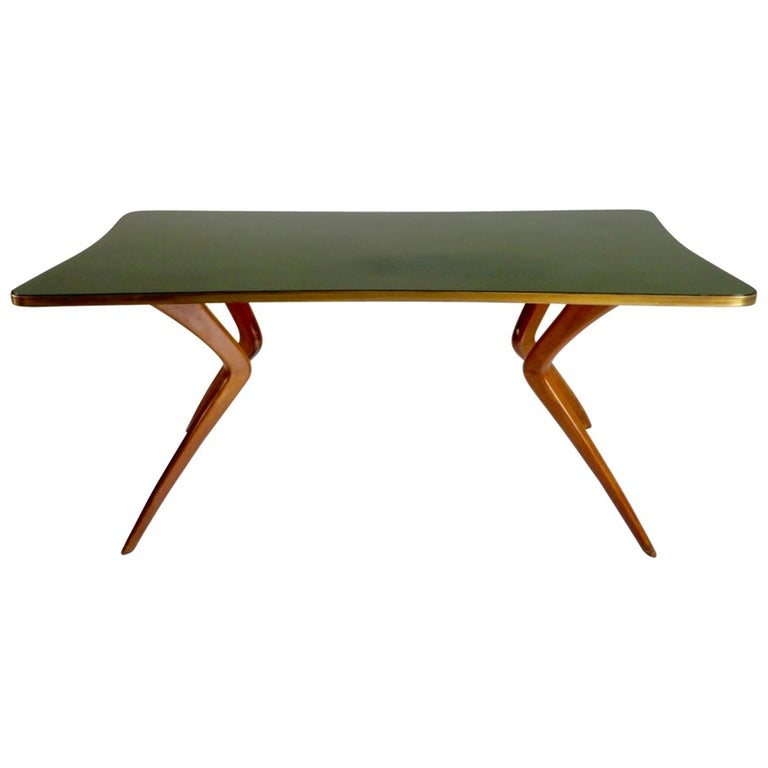 1960s Italian Table with Wood Legs and Green Glass Tabletop For Sale