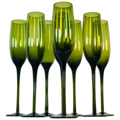 1960s Italian Tall Green Champagne Flutes, Set of 8