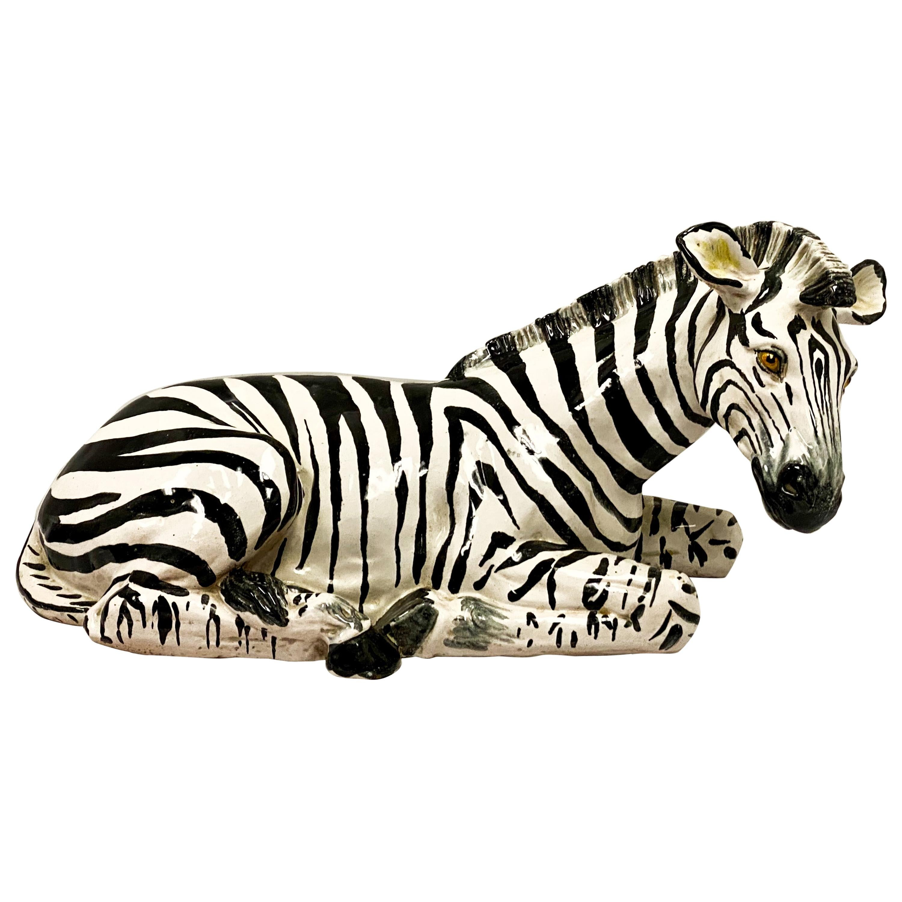 1960s Italian Terracotta Hollywood Regency Zebra
