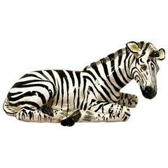 1960s Italian Terracotta Hollywood Regency Zebra