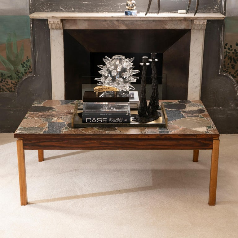 1960s Italian Terrazzo Coffee Table Top and Palisander and Walnut Base For Sale 5