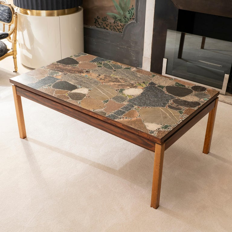 Mid-Century Modern 1960s Italian Terrazzo Coffee Table Top and Palisander and Walnut Base For Sale