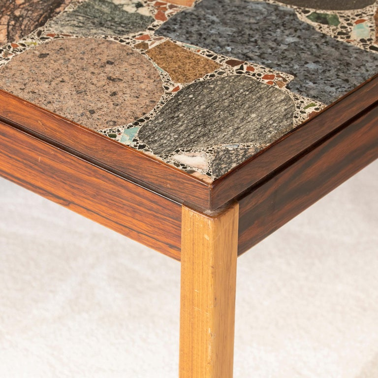 Mid-20th Century 1960s Italian Terrazzo Coffee Table Top and Palisander and Walnut Base For Sale
