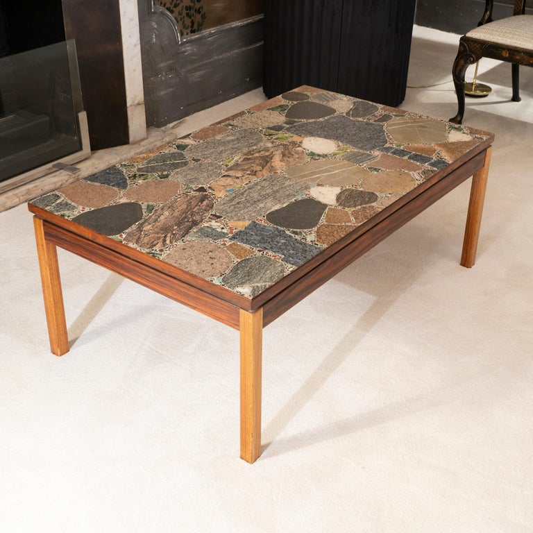 1960s Italian Terrazzo Coffee Table Top and Palisander and Walnut Base For Sale 1