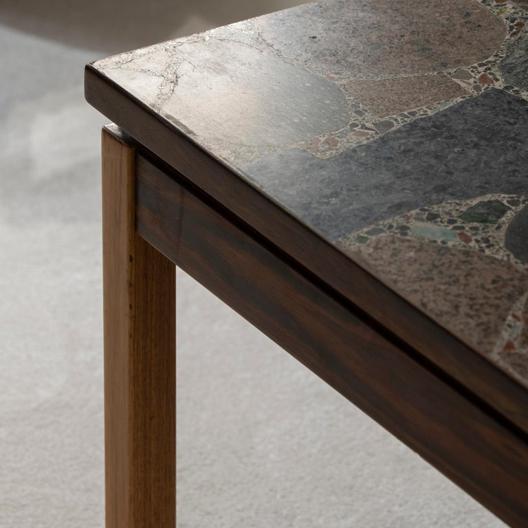 1960s Italian Terrazzo Coffee Table Top and Palisander and Walnut Base For Sale 3