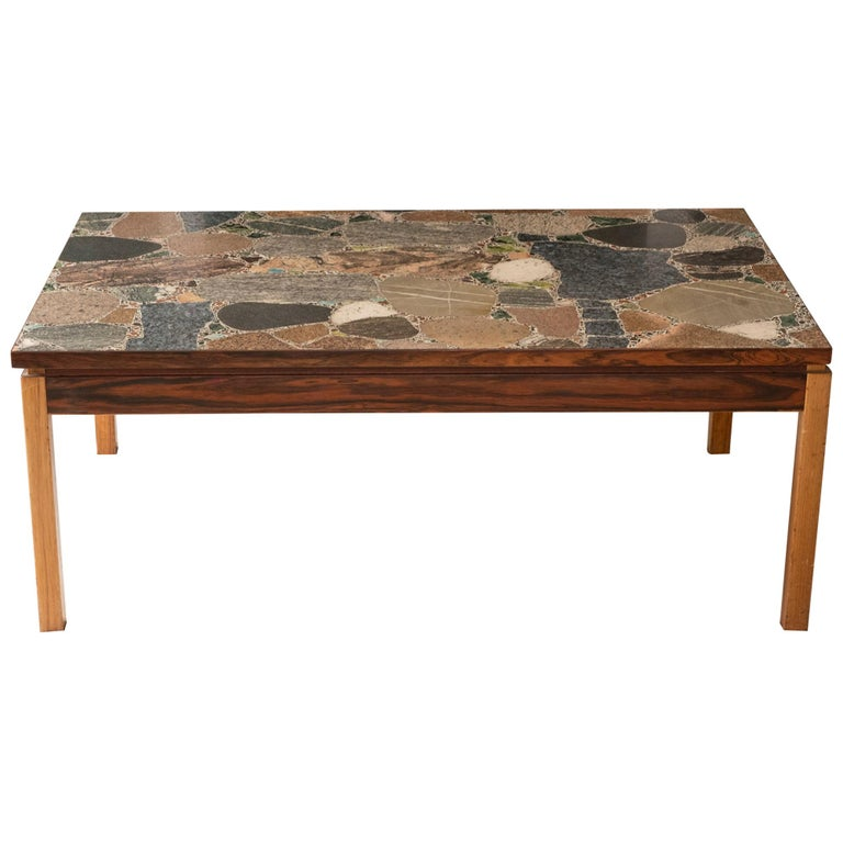 1960s Italian Terrazzo Coffee Table Top and Palisander and Walnut Base For Sale