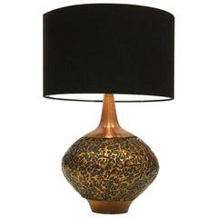 1960s Italian Textured Copper Table Lamp Brutalist Sculptural