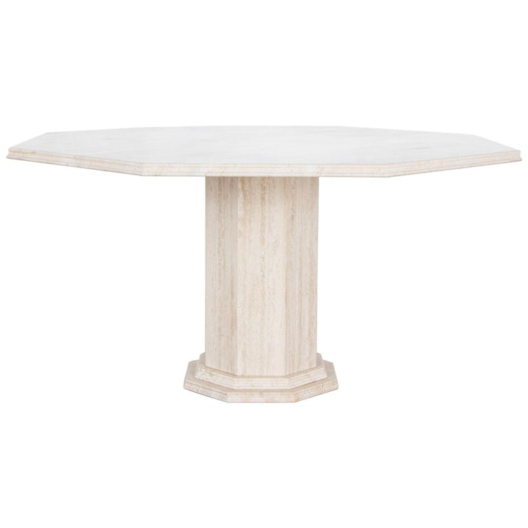 1960s Italian Travertine Octagonal Dining Table For Sale