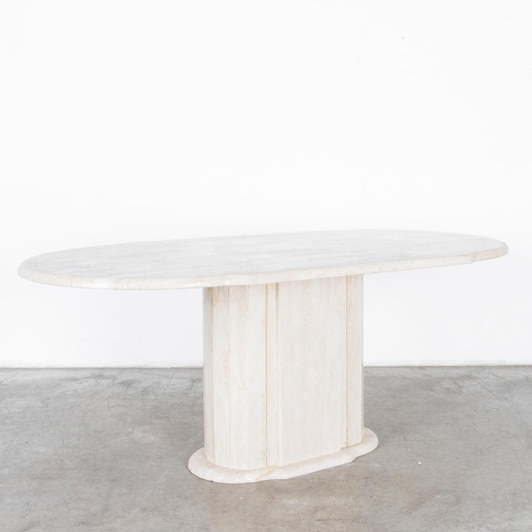 Mid-Century Modern 1960s Italian Travertine Pedestal Dining Table For Sale